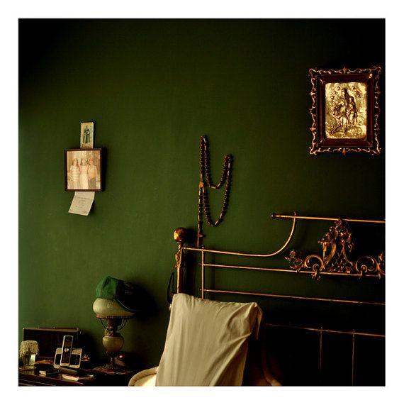 Green and Gold Bedroom - 8x8 Fine Art Photograph - Natural Light Interior Fine Art Print
