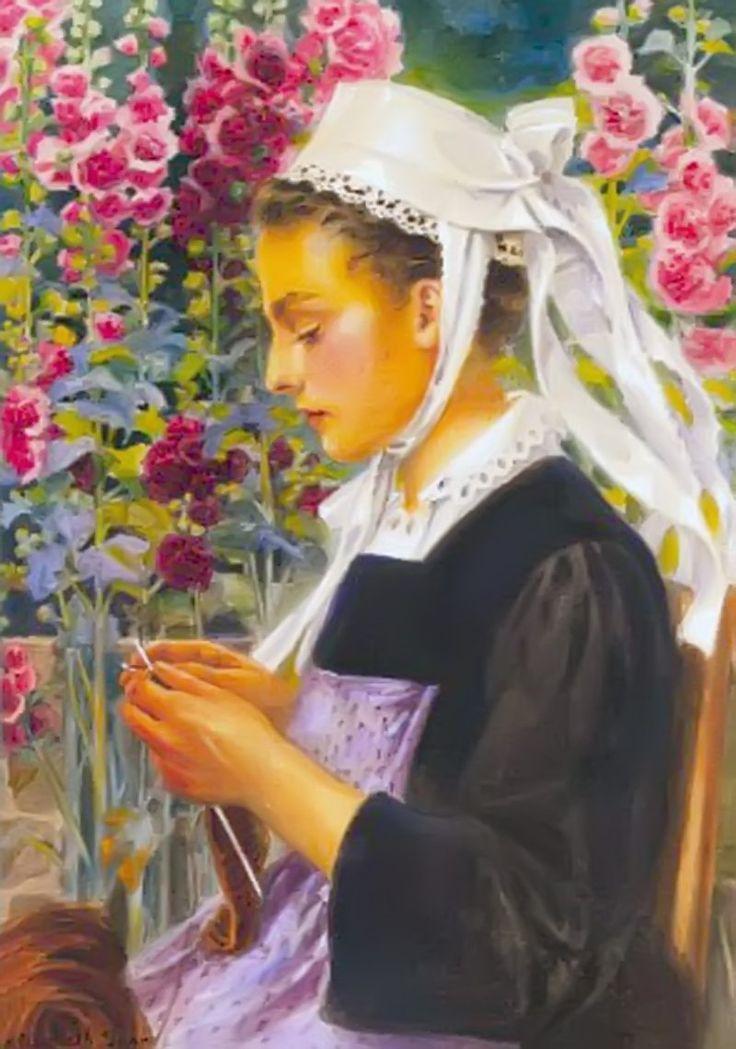 """""""Joven común tejiendo""""      -       """"Jeune Faouetaise tricotant""""      -       Elisabeth Sonrel (1874-1953) Pintora e ilustradora modernista francesa de Tours. Hija del pintor Nicolas Stephane Sonrel quien fue su primer maestro, estudió en la Escuela de Bellas Artes de París."""