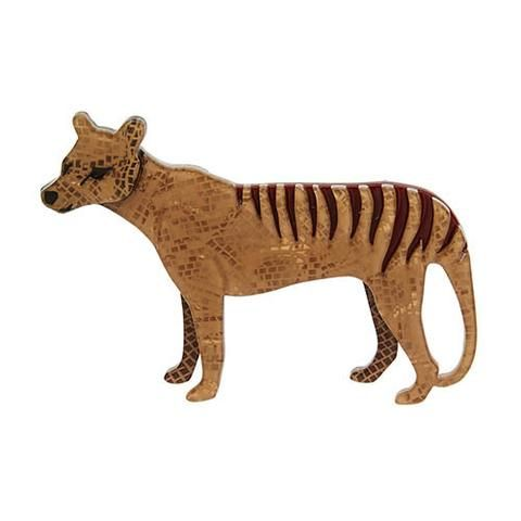 """Erstwilder Collectable The Truant Thylacine Brooch. """"Back in my day I was the Southern Hemisphere's number one apex predator. The those pesky humans came along."""""""