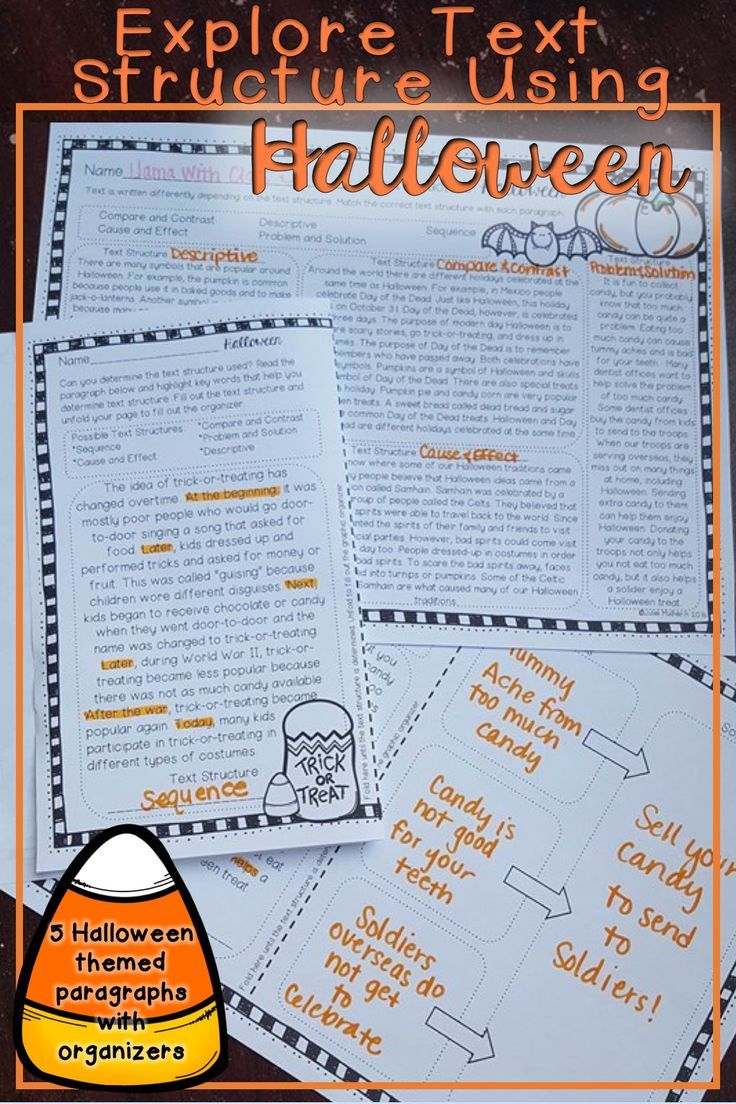 5 Halloween Themed Paragraphs Each Written In A Different Text Structure Students Highlight Key Words Text Structure Worksheets Text Structure Halloween Text [ 1104 x 736 Pixel ]