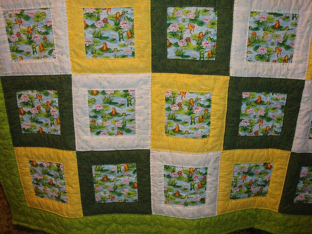Quilt Yellow Green Amp White With Frogs Print By