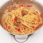 This pasta sauce takes minutes to cook. Once you've done it a few times you can add other simple ingredients to completely transform it.  on goop.com. http://goop.com/recipes/classic-tomato-spaghetti/
