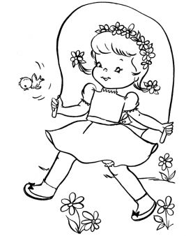 Print Out Spring Cute Girl Jumping Rope Coloring Page