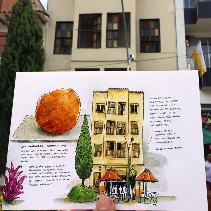 """434 Me gusta, 1 comentarios - N E L D E M E D E L L I N (@nel_ilustrador) en Instagram: """"Aquí venden los ricos buñuelos santuarianos. Esto es Antioquia Sketching Tour. #Sketches…"""""""