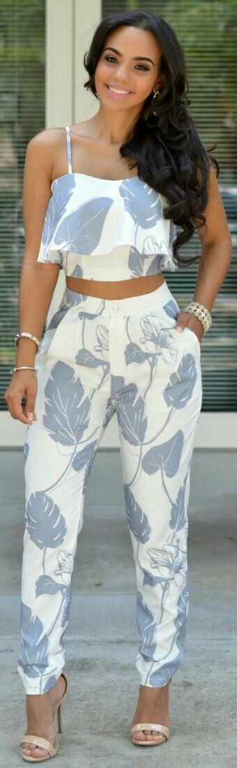 printed two-piece: cropped tapered trouser and flirty flounce top