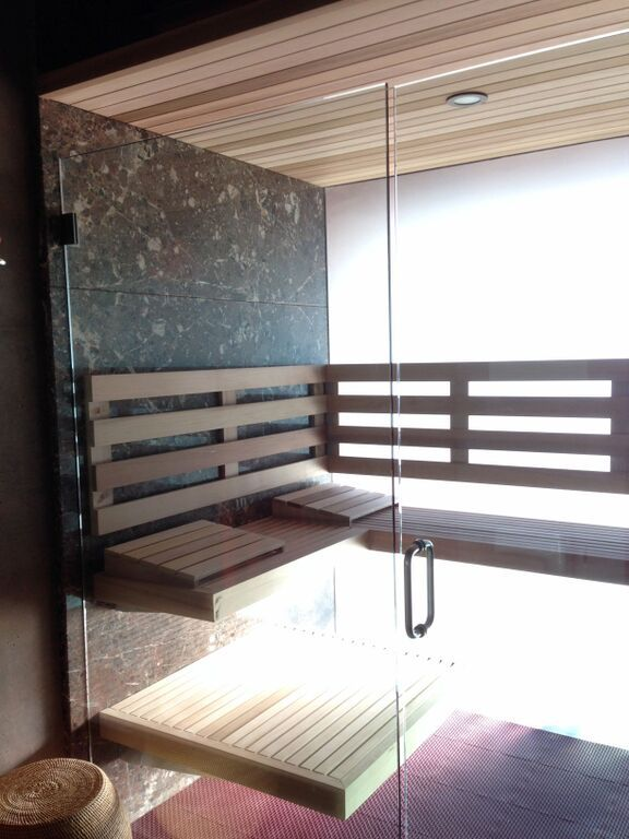 Modern elegant sauna in converted shower-space by Diamond Fitness. #sauna #diamondfitness #health #relax #detox #luxury #modern #finnish #saunas