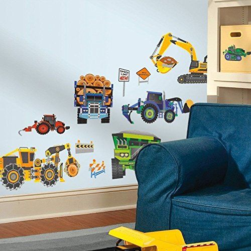 Construction truck 18 wall decals dump log tractor signs for Construction themed bedroom ideas