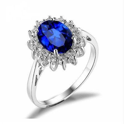 Luxury-British-Kate-Princess-Diana-William-Blue-Sapphire-Engagement-Wedding-Ring