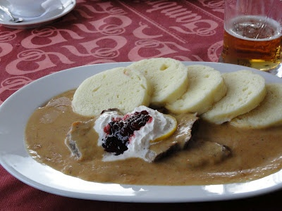 Svickova  | Check Republik | I tried this dish in a restaurant in Prague. It is delicious! | Beef sirloin with carrots, onion, parsnips, celeriac, peppercorn, sour cream, flour and bread dumplings. Served with whipped cream and cranberry sauce go in the middle.
