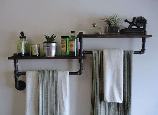 Industrial pipe bathroom towel rack + storage