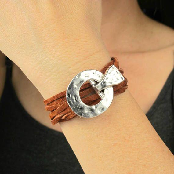 Womens Leather Bracelet-Leather Wrap Bracelet for Women-Boho Leather Wrap Bracelet-Boho Leather Bracelet-Leather Silver Bracelets for Women $29.99