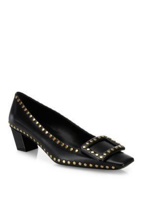 ROGER VIVIER Belle Vivier Studded Leather Mid-Heel Pumps. #rogervivier #shoes #pumps