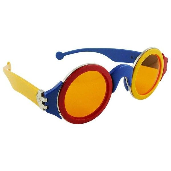 Preowned Karl Lagerfeld Vintage Rare 1985 Colorful Sunglasses Limited... (1 554 865 LBP) ❤ liked on Polyvore featuring accessories, eyewear, sunglasses, orange, colorful glasses, multi color sunglasses, multi colored sunglasses, orange lens sunglasses and orange lens glasses