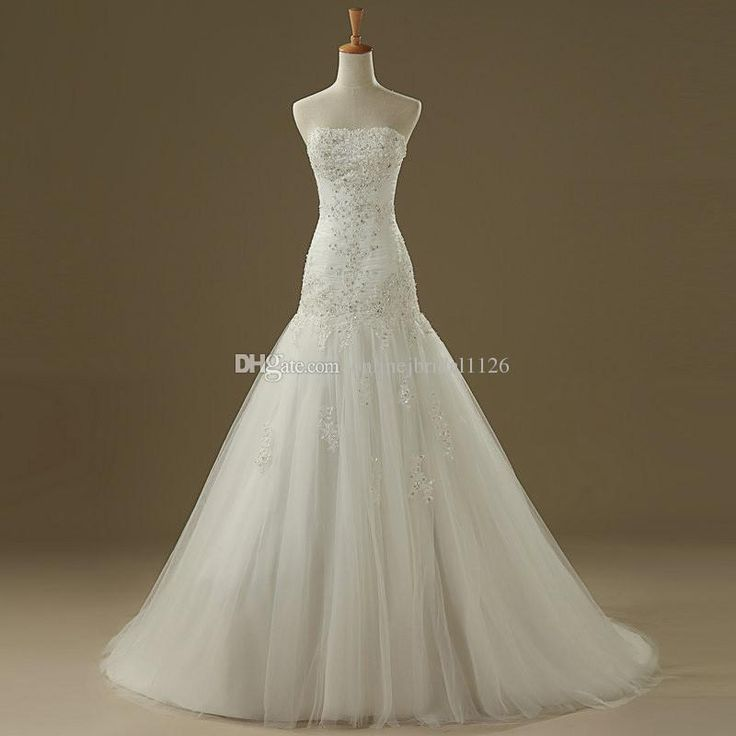 Buy wholesale hot sale tulle strapless mermaid real photos appliques beads sequins pleating vestido de noiva cor-46 wedding dress which is at a discount now. onlinejbridal1126 has guaranteed its quality. in wedding dress, mermaid evening dress and mermaid lace wedding dress are all in the list of superb dresses.
