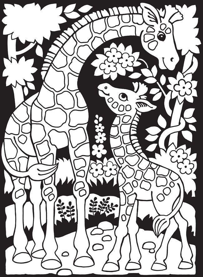 Welkom bij Dover Publications: via deze pin kun je bij nog twee andere kleurplaten; zebra en kangaroe