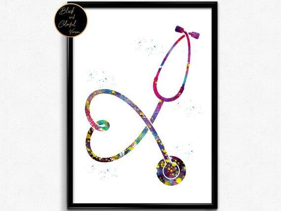 Stethoscope Watercolor Print Medical Tools Wall Art Nurse Gift Medical Art Love