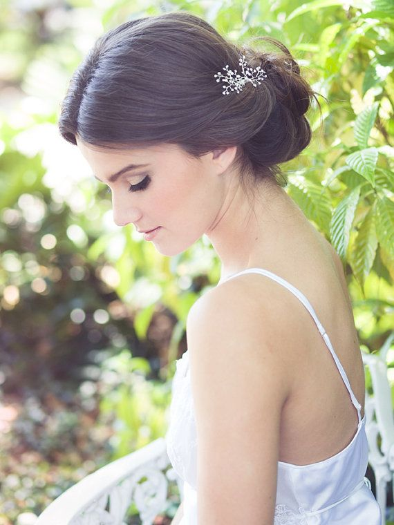 Crystal hair brooch, babys breath comb, bridal jeweled headpiece, wedding hair accessories, bride hair jewelry - Mary