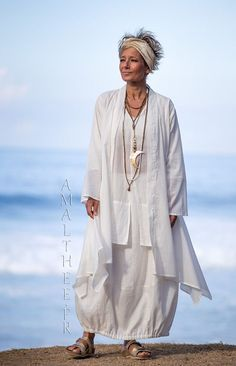 Layered summer outfit:loose fit super thin white cotton summer coat Angel -:- AMALTHEE -:- n° 3508