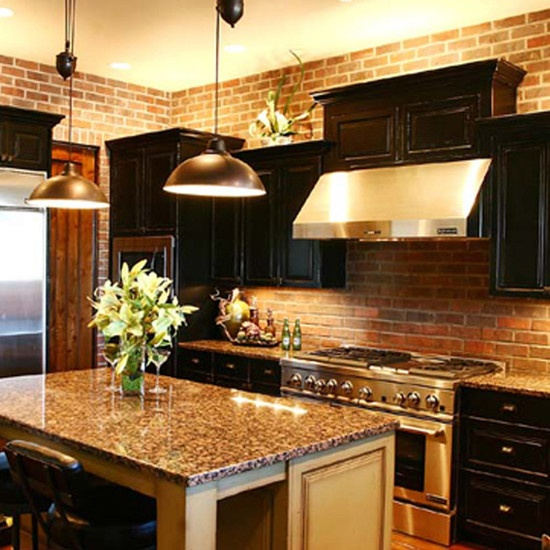 Dark Cabinets With Granite And Brick Dream Kitchen. Maybe Charcoal Gray Cabinets And A Lighter