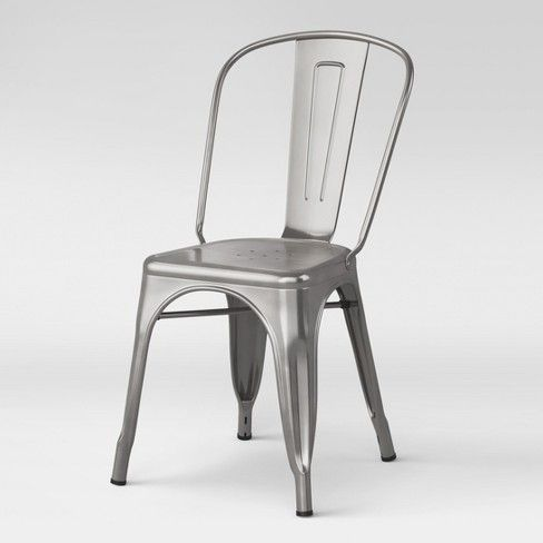 Carlisle High Back Fully Assembled Metal Dining Chair Silver
