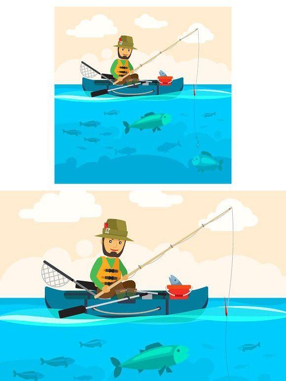 Fisherman On A Boat Boat Vector Boat Illustration