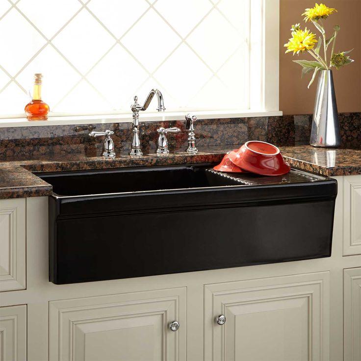 "36"" Aulani Italian Fireclay Farmhouse Sink with Drainboard - Black"
