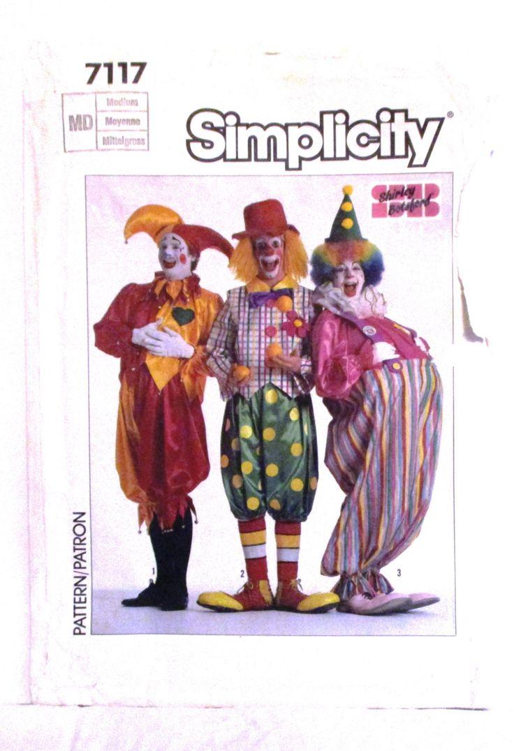 Clown Hobo Jester Costume Pattern Adult Halloween Simplicity 7117 Unisex Men Women Size Medium 36 38 Hat Pants Suspenders Vest Vintage 1980s by RuthsGreenTreasures on Etsy