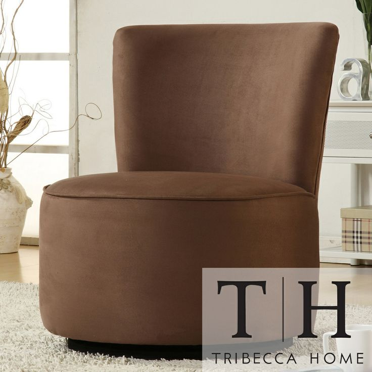 best living room chair%0A Ethan Home Moda Brown Microfiber Modern Round Swivel Chair