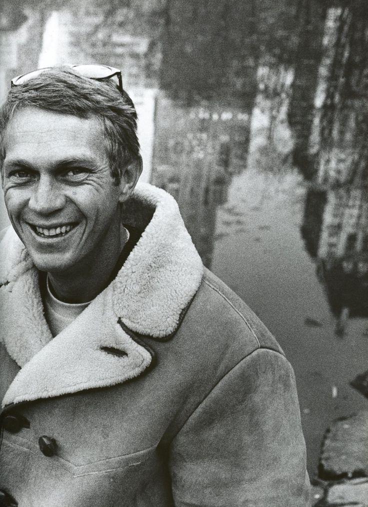 Steve McQueen in a shearling trimmed jacket.