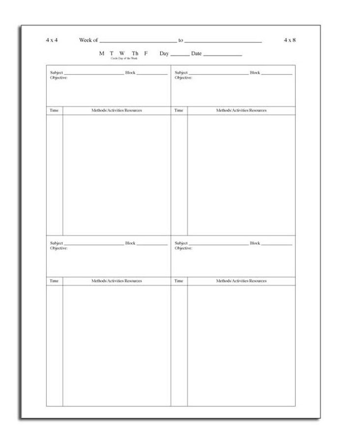 block scheduling lesson plan template