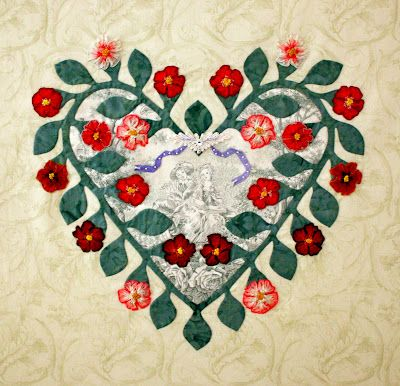 "Baltimore heart block by Evelyn Crovo-Hall with a toile center.  The roses were made with 5/8"" wide French wired ombré ribbon.  The French knot centers are stitched with 4mm silk ribbon.""  The pattern is in 'The Best of Baltimore Beauties, Part II' by Elly Sienkiewicz"