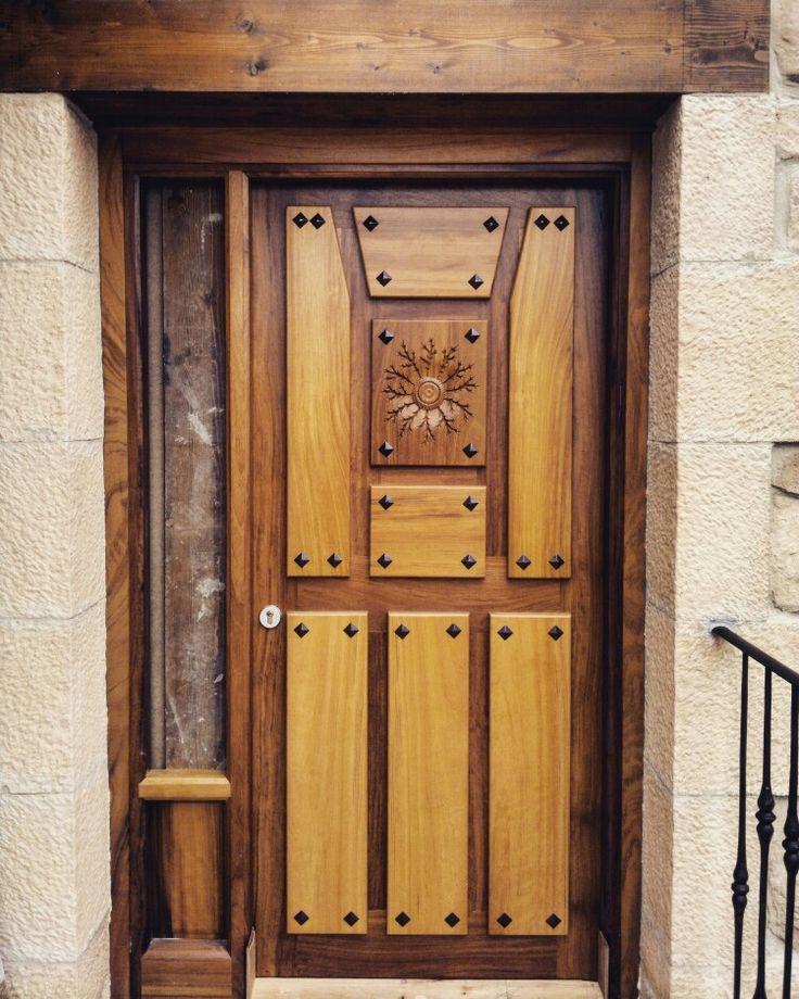 Puerta de madera de iroko con un fijo lateral modelo - Clavos para madera ...