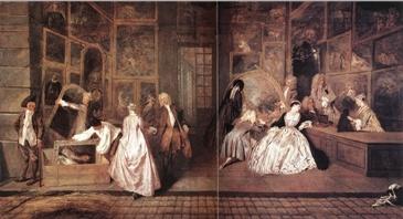 WATTEAU, Jean-Antoine  L'Enseigne de Gersaint.1720  이 작품이 그려진 시기는 1720년 루이 14세가 서거하고 5년뒤, 즉 바로크에서 로코코로 넘어오는 시기였다. 왼쪽여인의 풍성한 드레스의 등 뒤에는 두줄의 주름이 잡혀 있고 주름은 부드럽게 드레이프되어 바닥까지 흘러내리고 있다. 핑크색의 진주와 같은 광택을 보면 이것은 새틴이다.