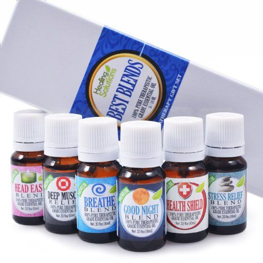 Best Blends Set of 6 100% Pure, Best Therapeutic Grade Essential Oil - 6/10mL (Breathe, Good Night, Head Ease, Muscle Relief, Stress Relief, and Health Shield)