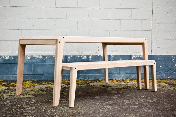 Ian Rouse Furniture - Holmes Table with bench. Wellington, New Zealand. Photography by Noemie Bulteau.