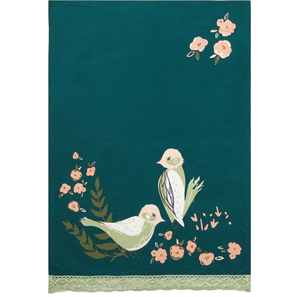 Peking Handicraft Teal Flourish Kitchen Towel ($17) ❤ liked on Polyvore featuring home, kitchen & dining, kitchen linens, teal kitchen towels, teal tea towels, cotton tea towels and cotton kitchen towels