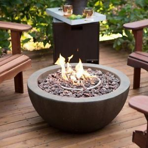 NEW-28-in-Outdoor-Propane-Fire-Pit-Bowl-Stone-Liquid-Propane-w-table-FREE-COVER