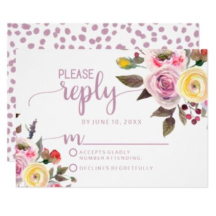#customize - #Sweet Rose Watercolor Floral Wedding Reply RSVP Card