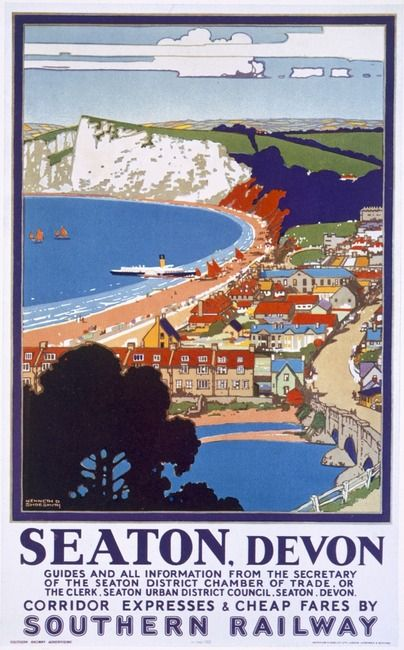 Seaton, Devon - Southern Railway Travel Poster.Interestingly the paddle steamer M.V. Waverley is pictured at the shore...She continues as an operating vessel on a loch in Scotland