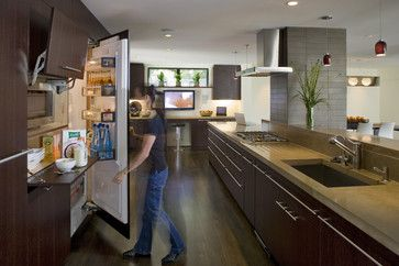 Innovative kitchen design. Flip up doors for cabinet to house microwave and prep area.  Leaves clean lines.  #dreamhome  Let me help you find yours. Johnny Sparrow, Keller Williams