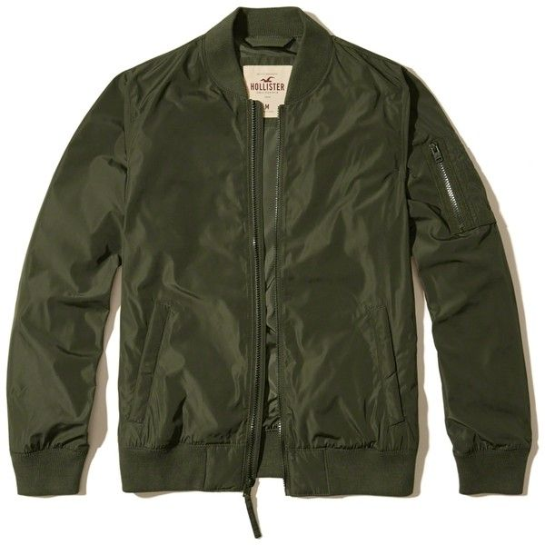 Hollister Nylon Bomber Jacket ($60) ❤ liked on Polyvore featuring men's fashion, men's clothing, men's outerwear, men's jackets, olive, mens nylon bomber jacket, mens army green jacket, mens bomber jacket, mens utility jacket and mens nylon jacket