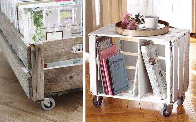 mesas con cajas de madera