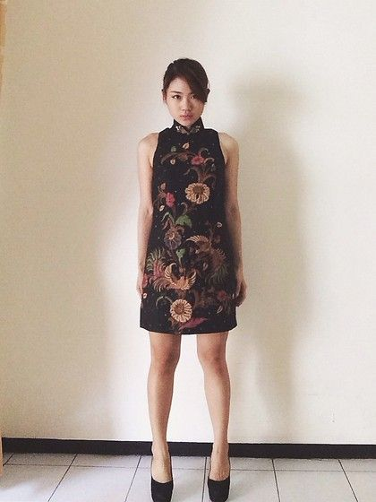 Black cheongsam Handdrawn batik dress , simple yet elegant