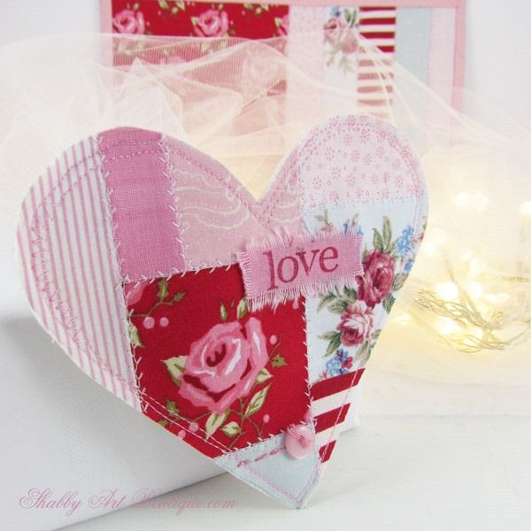 DIY ~ Faux Patchwork Shabby Valentine Heart - Shabby Art Boutique