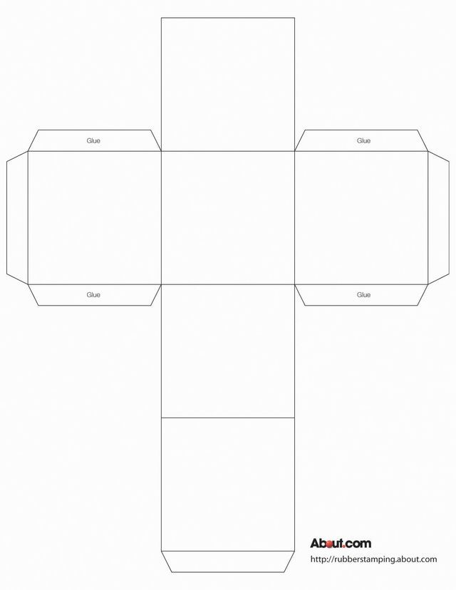Free Cube Box Template for Rubber Stamping: Cube Box Template (1 per sheet of paper)