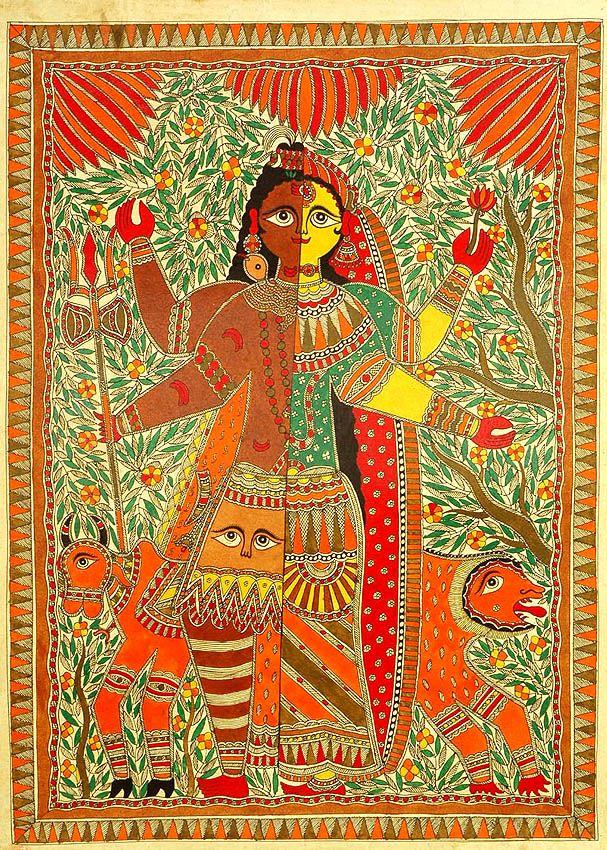 Ardhanarishvara (Shiva Shakti)  Madhubani  exoticindia