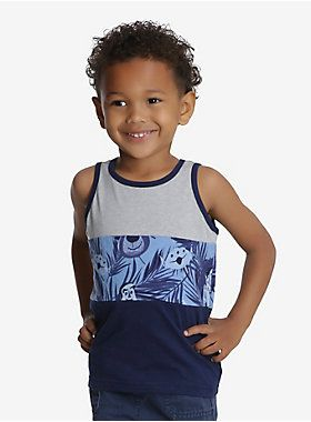 Are we the only ones who think of childhood when we think of summer? No? Good. Get your little one ready for the best memories of their life and outfit them in this tank. It's got a tropical Toy Story inspired print that really brings the feels. With its complimentary grey and blue panels it's the perfect addition to their first summer wardrobe.  Look for the matching adult top!