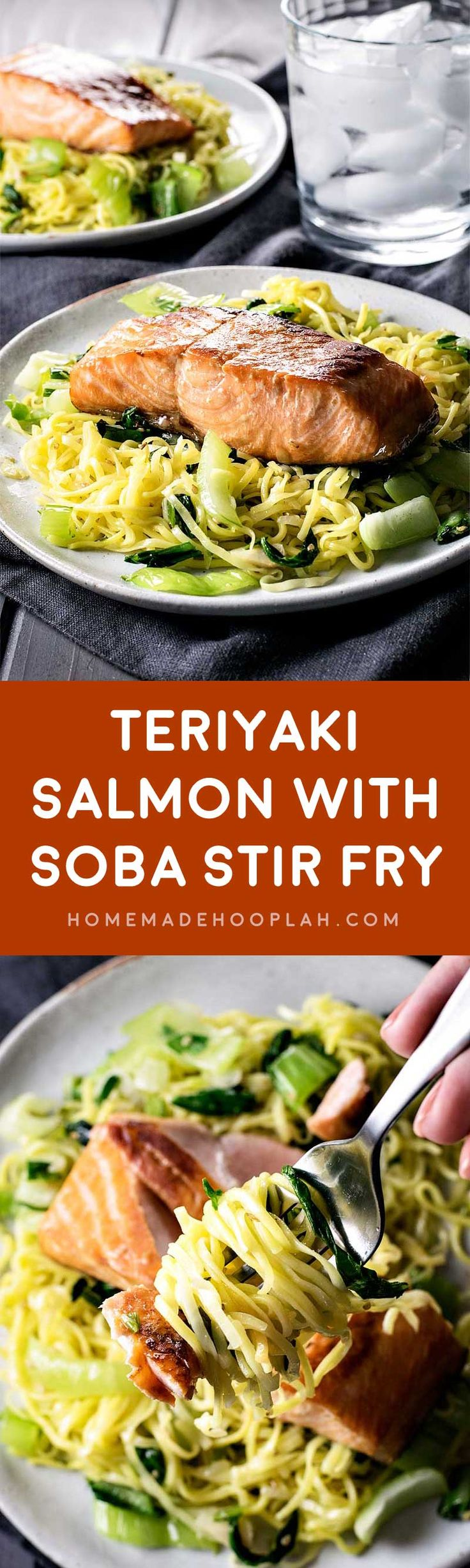 with Soba Stir Fry! Tender teriyaki salmon on a bed of soba noodle ...