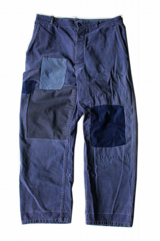 French vintage patchwork chore pants/France 1960's/faded blue cotton/patched needlework/hand stitch/284