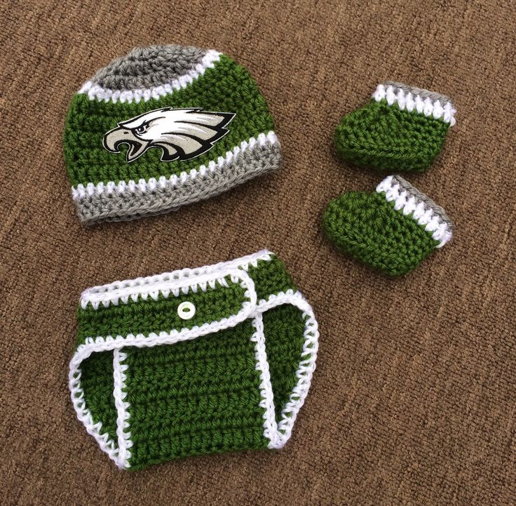 Crochet Newborn Philadelphia Eagles Hat with matching diaper cover and optional booties, for baby boy or baby girl by Rx3CustomCrochet on Etsy https://www.etsy.com/listing/229128153/crochet-newborn-philadelphia-eagles-hat